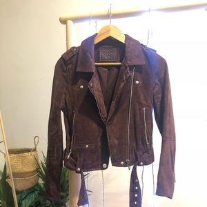 BlankNYC leather suede moto burgundy jacket